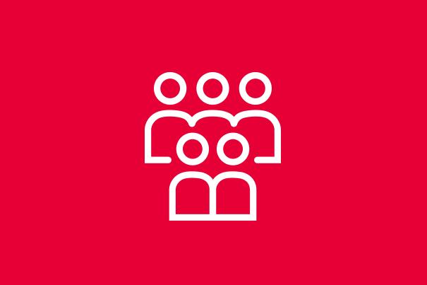 Rotes Icon mit Personen.