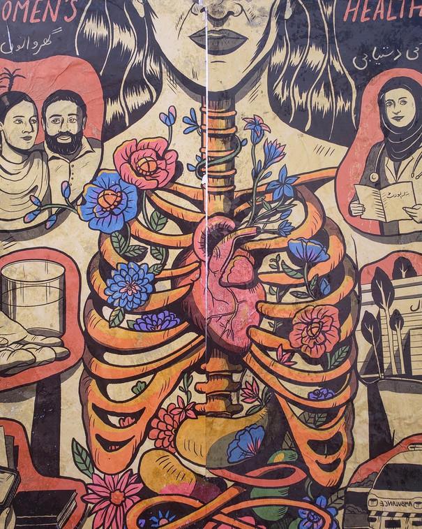 Illustration von inneren Organen, aus dem Brustkorb wachsen Blumen