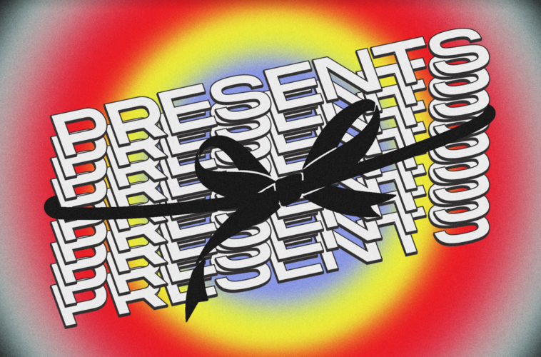 """The word """"Presents"""" is written multiple times in white, with a big black bow wrapped around it.  The background is a radiant, rainbow-like gradient."""