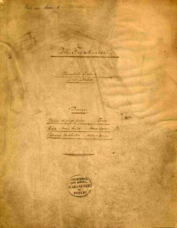 D-Bhm, RH 0268, Engelbert Humperdinck – Die Fischerin (Titelseite) | © Universität der Künste Berlin, Universitätsbibliothek