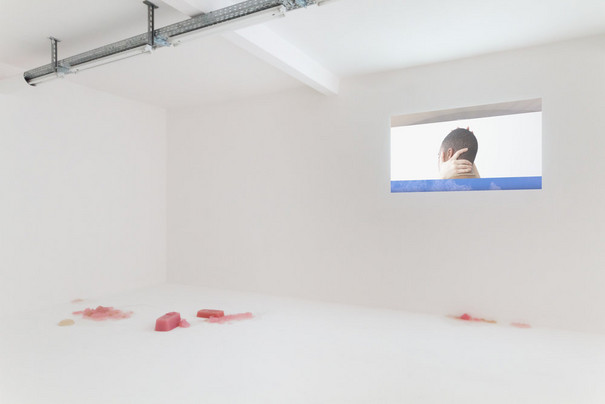 "Video screening of ""It Is April"" by Rindon Johnson in an exhibition space"