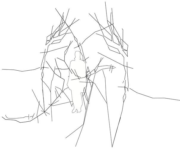 Umrisse einer Person im abstrakten Geflecht.