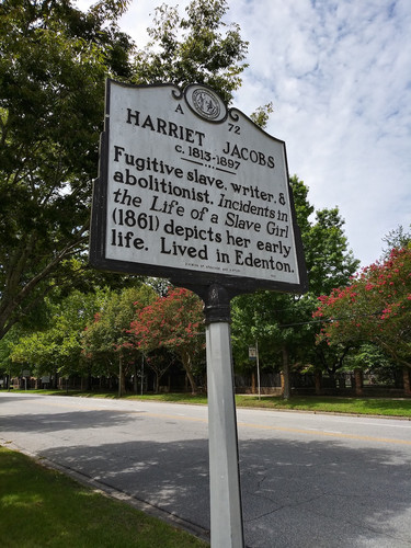 Sign with Information about Harriet Jacobs' life in Edenton.