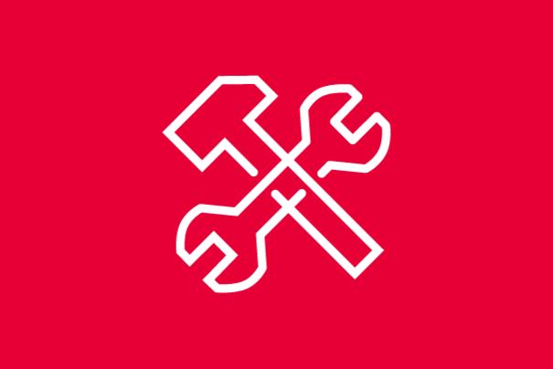 Icon Werkzeug Hammer und Schraubenzieher