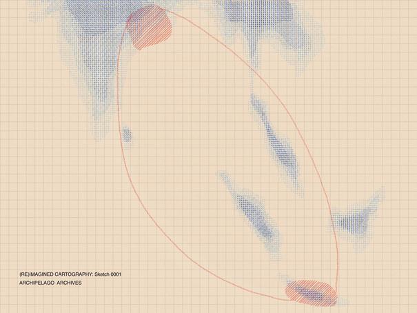 Skizze auf kariertem Papier in blauen und roten Tönen.