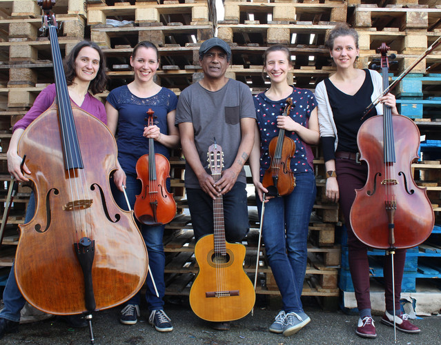 Photo of the five performers including their instruments.