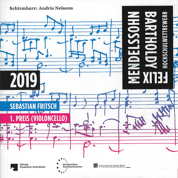 Felix-Mendelssohn-Bartholdy-Hochschulwettbewerb 2019 / Sebastian Fritsch : 1. Preis (Violoncello)– Berlin: betont, Univ. der Künste Berlin, 2021, 1 CD mit Beil., Best.-Nr. 0124, 10,00 €