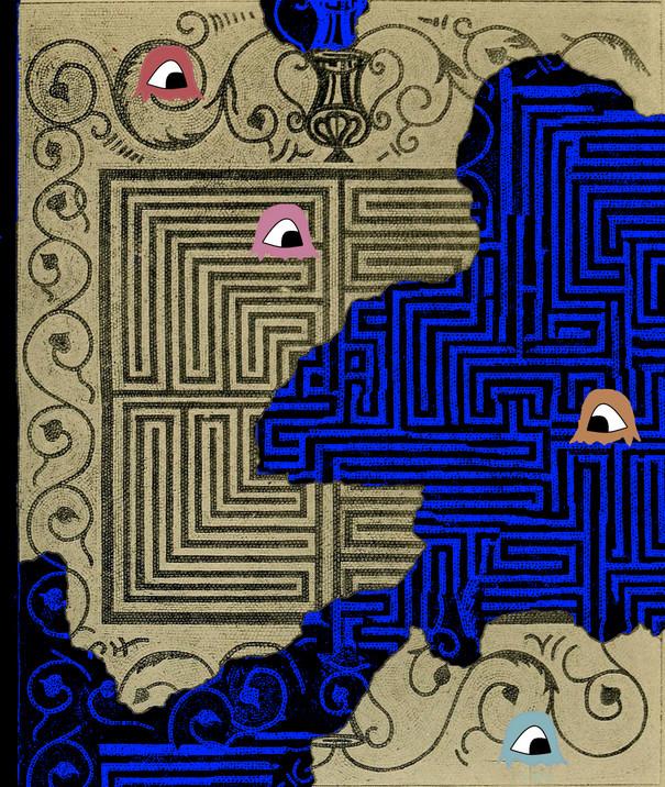 alte Karte eines Labyrinths mit kleinen bunten einäugigen Geistern.