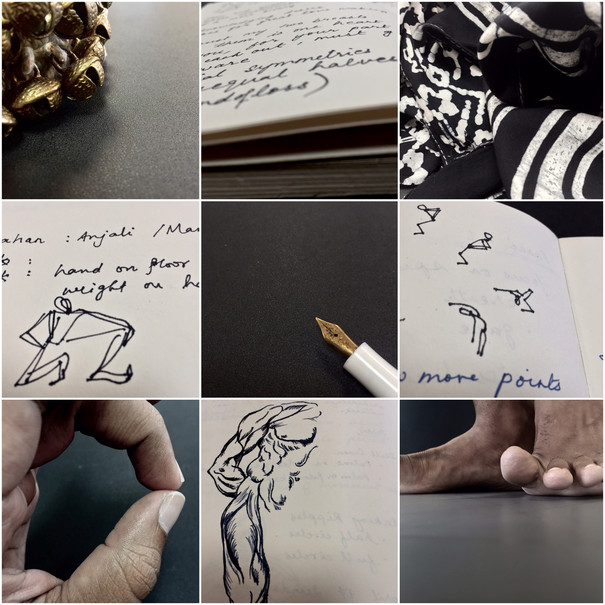Collage of nine photos from notes and body parts.