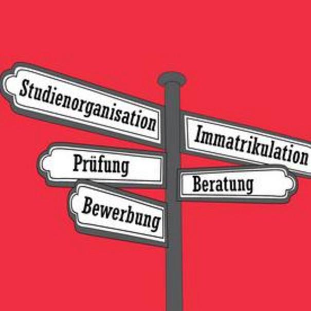 """Gezeichneter Wegweiser mit den Worten """"Studienorganisation"""", """"Immatrikulation"""", """"Prüfung"""", """"Beratung"""", """"Bewertung""""."""