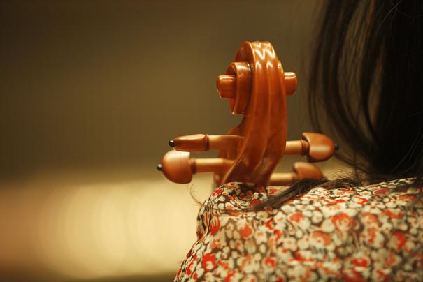 Oberes Ende eines Cello oder Basses