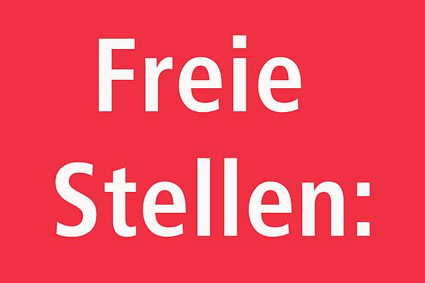 """Roter Hintergrund mit weisser Schrift """"Freie Stellen:"""""""
